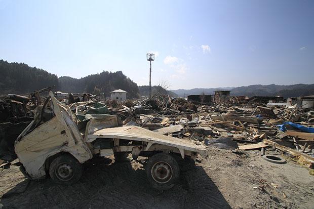 Ce qu'il reste de la ville d'Iwate après le passage du tsunami
