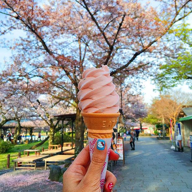 Crème glacée au sakura, Parc Arashiyama (Kyoto)
