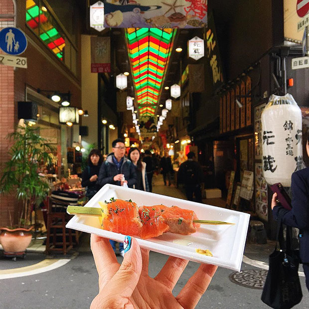 Brochette de sashimi au saumon, Marché de Nishiki (Kyoto)